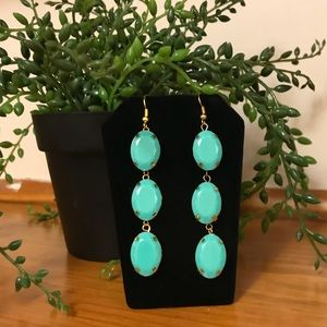 🛍SALE🛍 Turquoise Faceted 3 Stone Drop Earrings